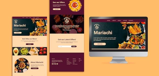 Pagina di destinazione del ristorante di piatti tradizionali messicani