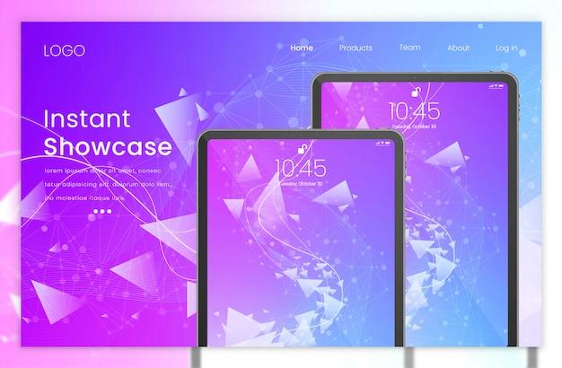 Pagina di destinazione del sito web colorata e perfetta per i pixel con tre realistiche