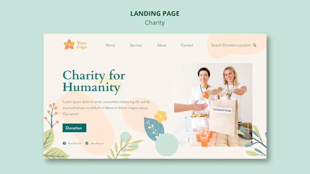 Pagina di destinazione di beneficenza