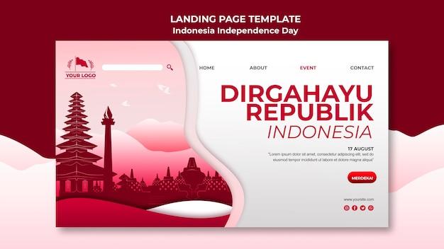 Pagina di destinazione per la festa dell'indipendenza dell'indonesia