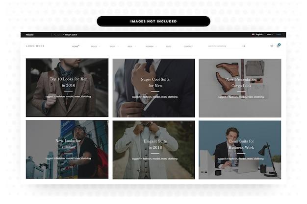 Pagina di destinazione sito web di abbigliamento estivo uomo, homepage, header, slider
