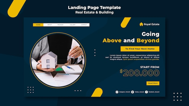 Página de inicio de bienes raíces y edificios