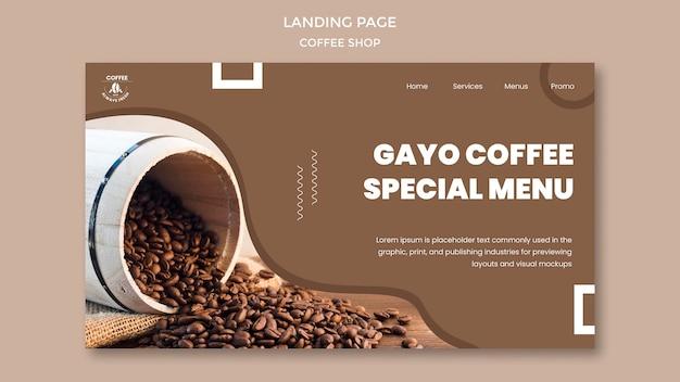 Página de inicio de la cafetería