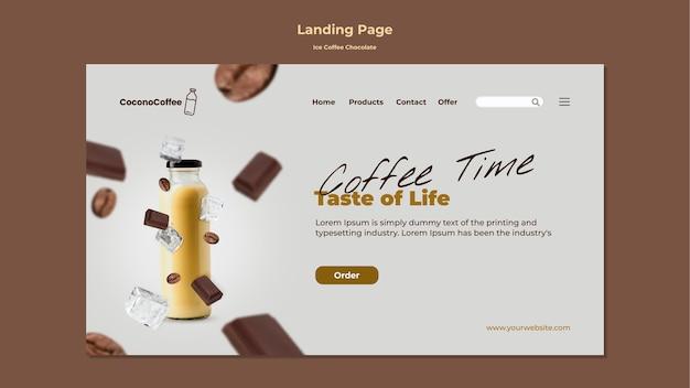 Página de inicio de chocolate con café helado