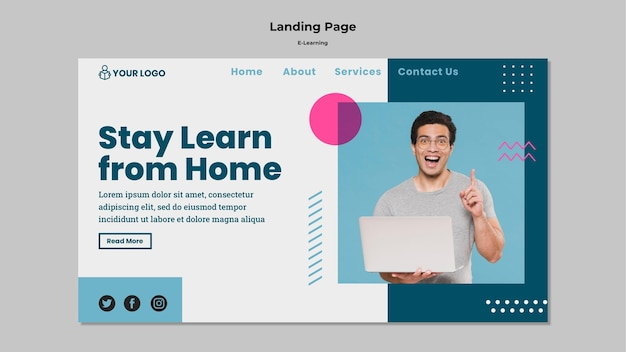 Página de inicio con concepto de e-learning