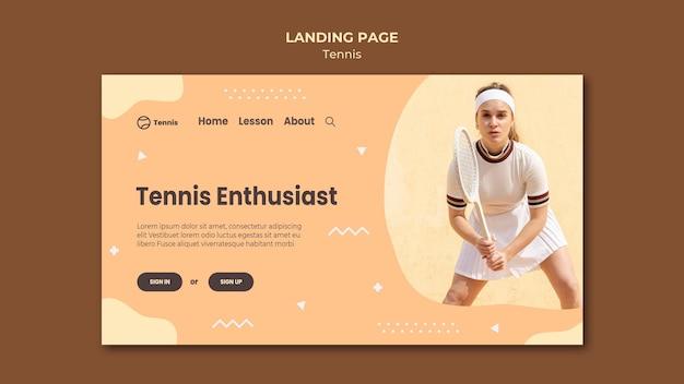 Página de inicio del concepto de tenis