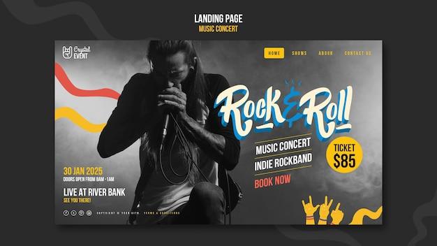 Página de inicio del concierto de música rock