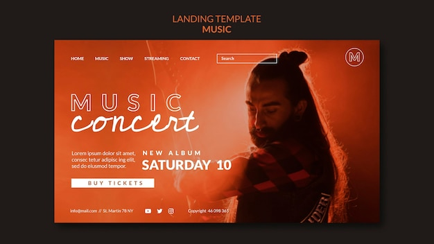 Página de inicio del concierto de música