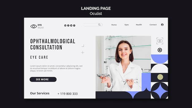Página de inicio de la consulta oftalmológica