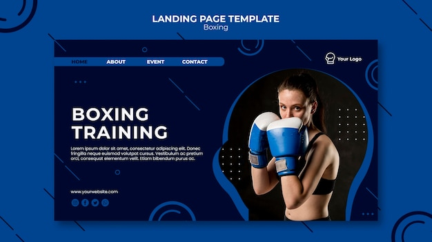 Página de inicio de entrenamiento de entrenamiento de boxeo