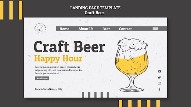 Página de inicio de happy hour de cerveza artesanal