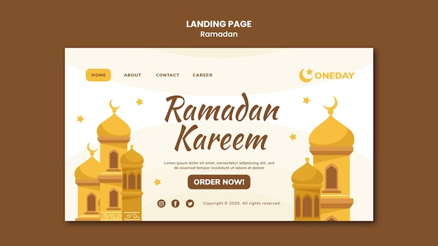 Página de inicio ilustrada de ramadán