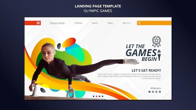 Página de inicio de los juegos olímpicos con foto