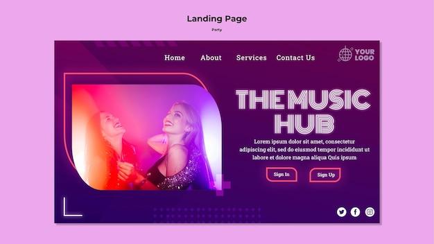 La página de inicio de music hub party
