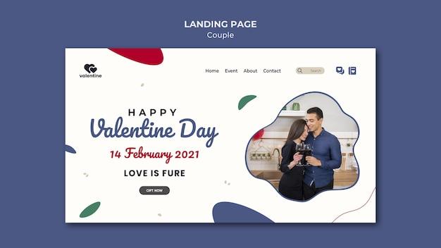 Página de inicio de pareja del día de san valentín