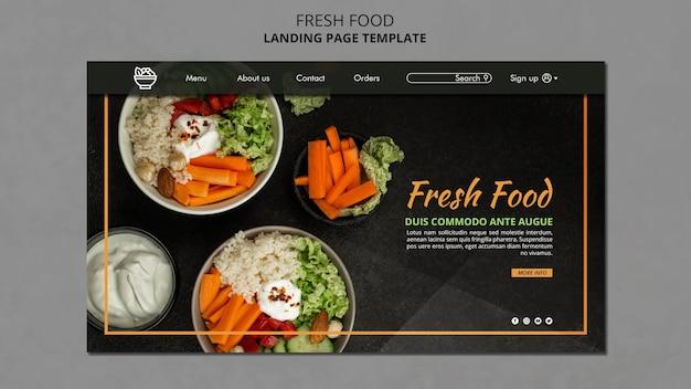 Página de inicio de plantilla de alimentos frescos