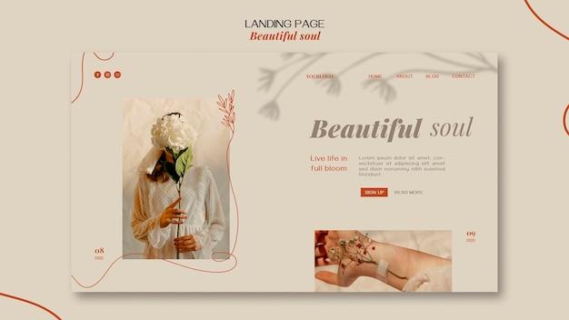 Página de inicio de plantilla de anuncio de alma hermosa