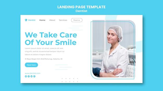 Página de inicio de plantilla de anuncio de dentista