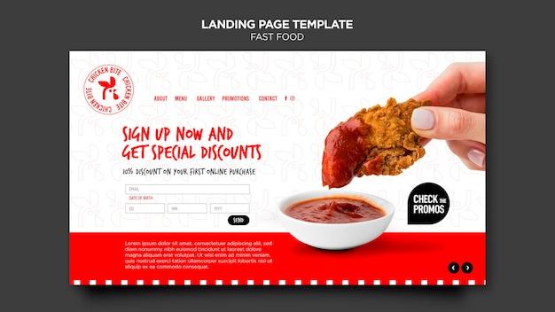 Página de inicio de plantilla de comida rápida