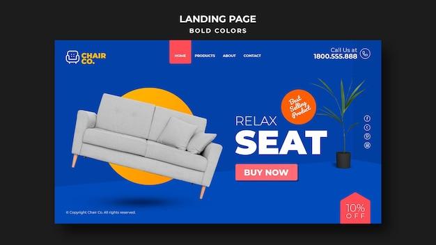 Página de inicio de plantilla de tienda de muebles