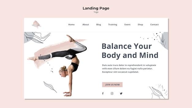 Página de inicio de postura de yoga
