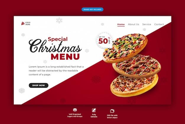 Página de inicio para restaurante con menú de comida especial navideña