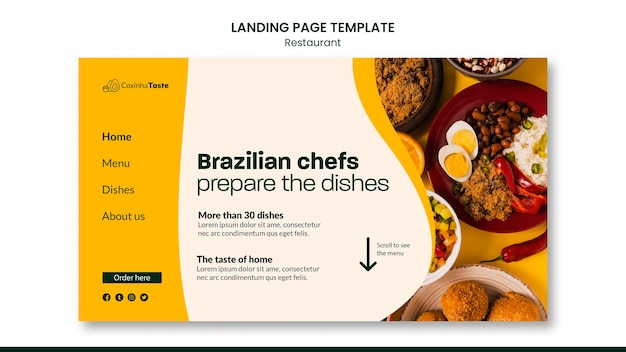 Página de inicio de sabrosa comida brasileña