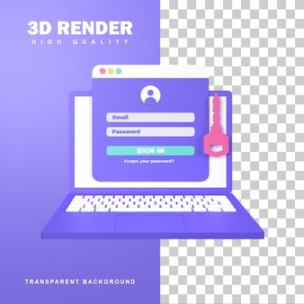 Página de inicio de sesión de renderizado 3d para ingresar al sitio web o aplicación.