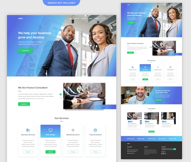 Página de inicio del sitio web de la agencia de negocios