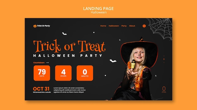 Página de inicio de truco o trato de halloween