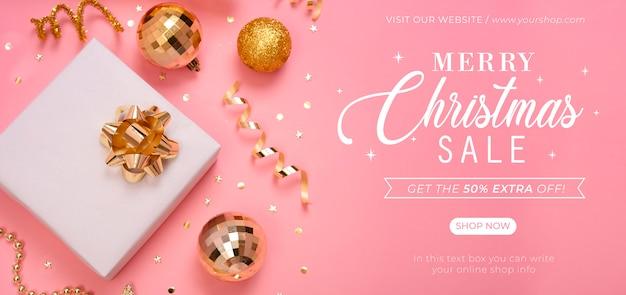 Página de portada de banner de venta de navidad sitio web.