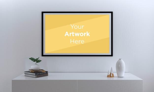 Paisaje maqueta de marco de fotos vacío con gabinete