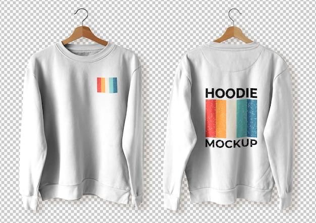 Pak een witte hoodie voor en achter over een transparant oppervlak