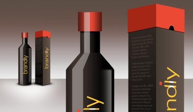 Pakket ontwerp-gedeelte realistische wijn fles en box psd downloaden