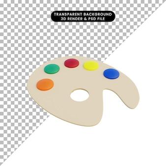 Paleta de pintura de objeto simple de ilustración 3d