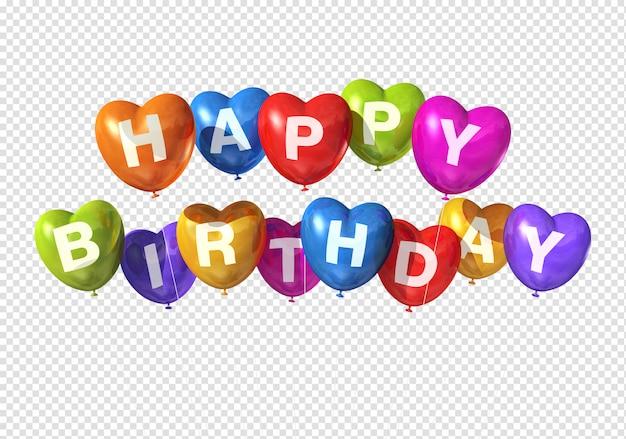 Palloncini a forma di cuore di buon compleanno