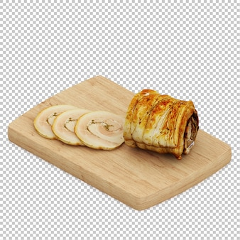 Pan isométrico tabla de cortar de madera