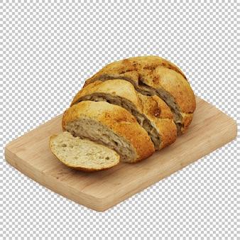 Pan isométrico en tabla de cortar de madera