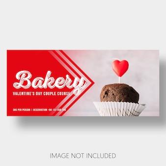 Pancarta plantilla panadería día de san valentín