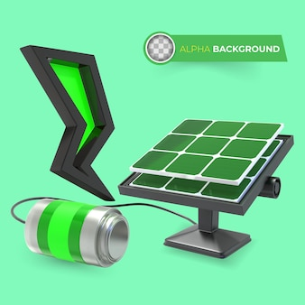 Los paneles solares reducen el cambio climático. ilustración 3d