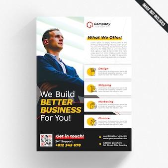 Panfleto de negócios corporativos modernos com detalhes laranja