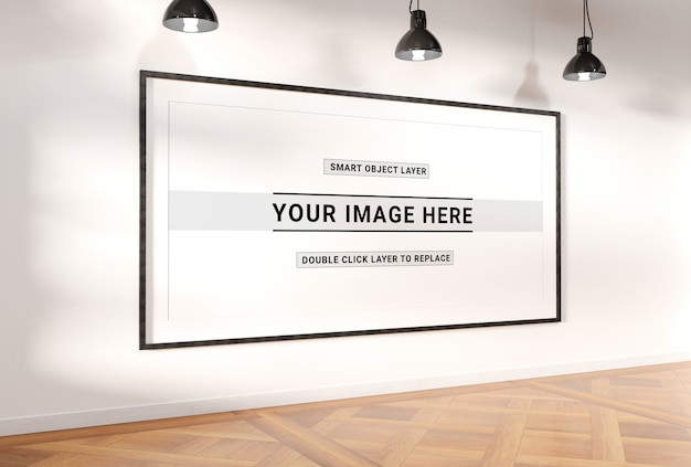 Panoramisch frame in interieur mockup