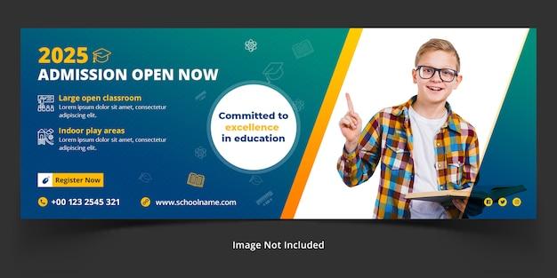 Panoramisch ontwerpsjabloon voor schooltoegang voor facebook-omslag of koptekst