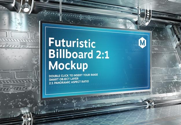 Panoramisch reclamebord met een hoogte-breedteverhouding van 2: 1 in futuristische underground mockup