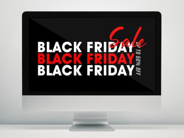 Pantalla de computadora con maqueta de campaña de viernes negro en el escritorio de trabajo