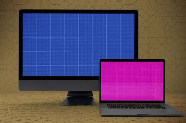 Pantalla de maqueta de computadora portátil y pc