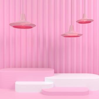 Pantalla de podio blanco de forma geométrica en representación 3d de fondo rosa pastel