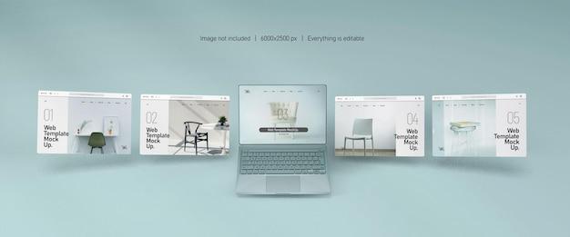 Pantalla de portátil con maqueta de presentación de sitio web aislado
