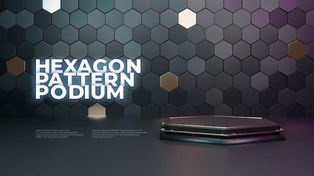 Pantalla de producto hexagon 3d podium