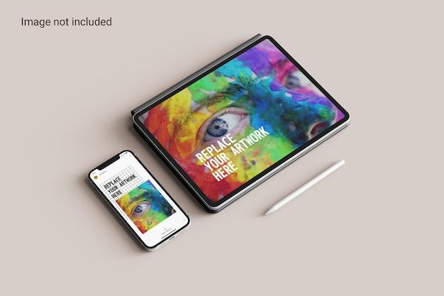 Pantalla de tableta con vista en perspectiva de maqueta de teléfono inteligente